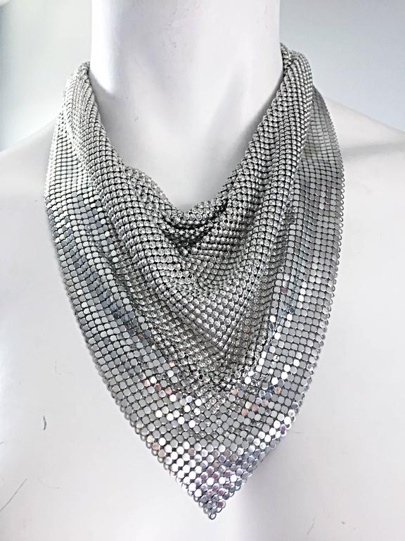 Vintage Whiting and Davis 1970s Silver Chainmail 70s Metal Disco Bib Necklace  4