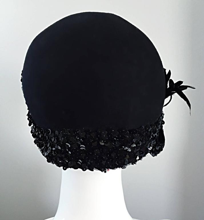 1960s Adolfo Black Sequin + Feather Vintage 60s does 20s Virgin Wool Cloche Hat  For Sale 2