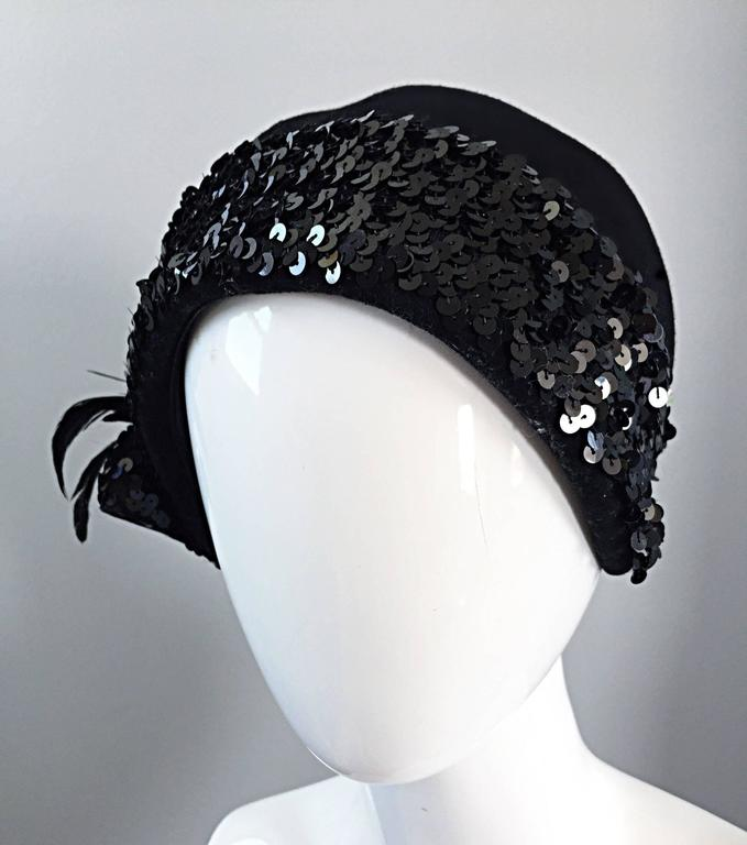 Women's 1960s Adolfo Black Sequin + Feather Vintage 60s does 20s Virgin Wool Cloche Hat  For Sale