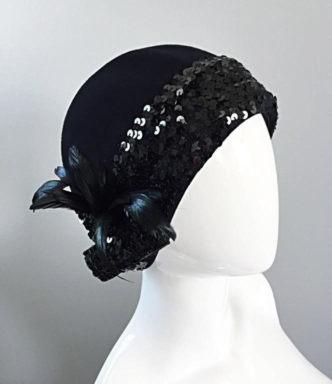 1960s Adolfo Black Sequin + Feather Vintage 60s does 20s Virgin Wool Cloche Hat  For Sale 1