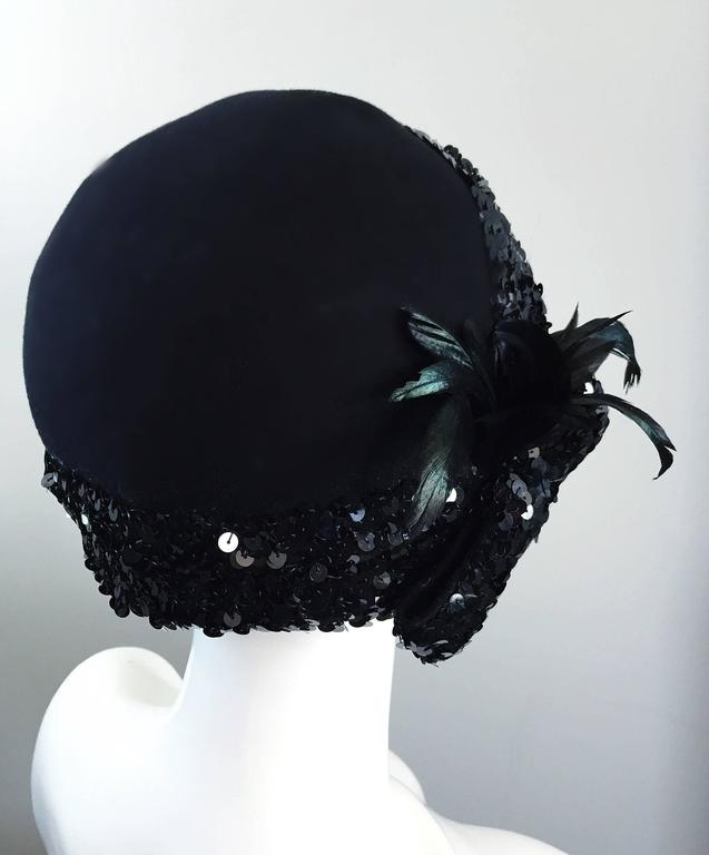 1960s Adolfo Black Sequin + Feather Vintage 60s does 20s Virgin Wool Cloche Hat  8