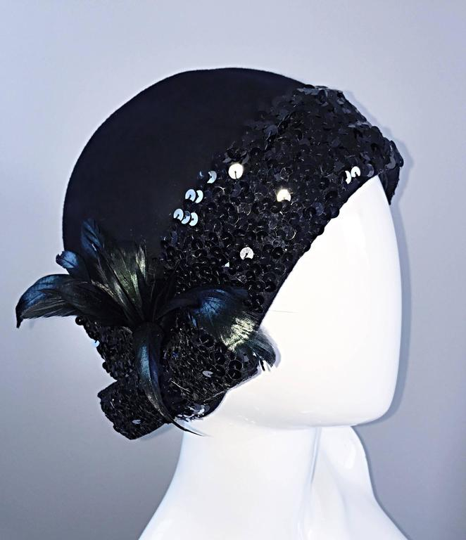 1960s Adolfo Black Sequin + Feather Vintage 60s does 20s Virgin Wool Cloche Hat  For Sale 3