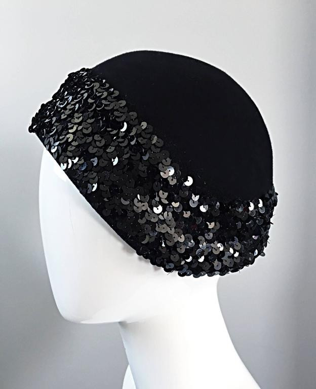 1960s Adolfo Black Sequin + Feather Vintage 60s does 20s Virgin Wool Cloche Hat  In Excellent Condition For Sale In San Francisco, CA