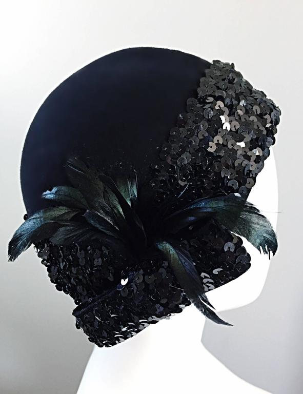 1960s Adolfo Black Sequin + Feather Vintage 60s does 20s Virgin Wool Cloche Hat  For Sale 5