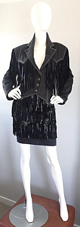 Vintage Patrick Kelly Denim and Leather Fringe Rare Skirt + Jacket Suit Ensemble For Sale 4