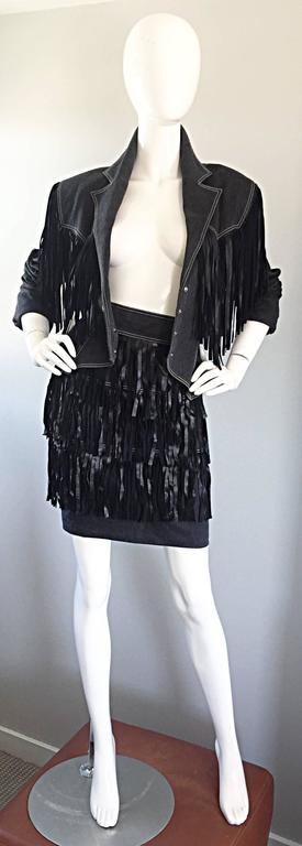 Black Vintage Patrick Kelly Denim and Leather Fringe Rare Skirt + Jacket Suit Ensemble For Sale