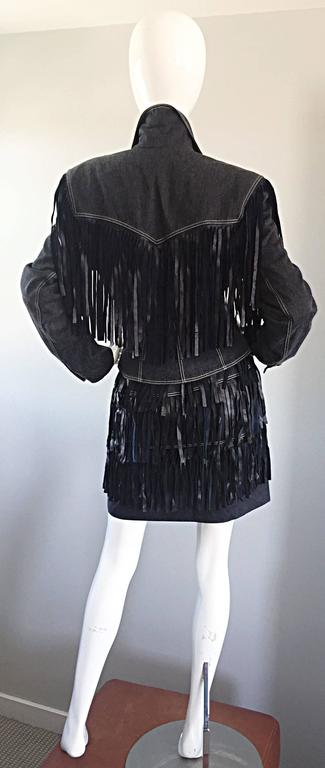 Vintage Patrick Kelly Denim and Leather Fringe Rare Skirt + Jacket Suit Ensemble For Sale 3