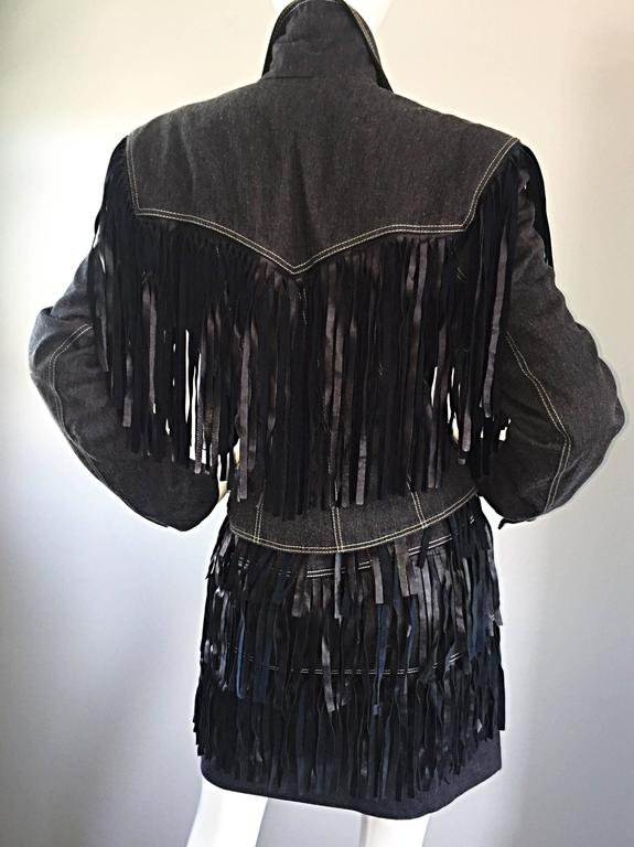 Women's Vintage Patrick Kelly Denim and Leather Fringe Rare Skirt + Jacket Suit Ensemble For Sale
