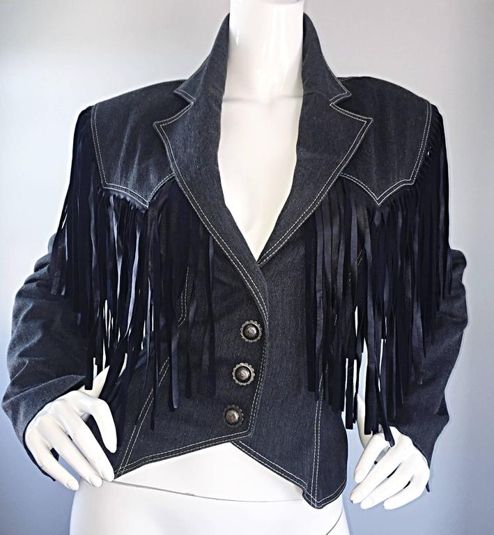 Vintage Patrick Kelly Denim and Leather Fringe Rare Skirt + Jacket Suit Ensemble In Excellent Condition For Sale In Chicago, IL