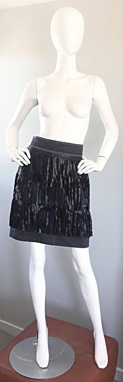 Vintage Patrick Kelly Denim and Leather Fringe Rare Skirt + Jacket Suit Ensemble For Sale 1