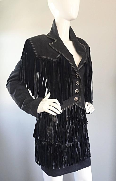 Vintage Patrick Kelly Denim and Leather Fringe Rare Skirt + Jacket Suit Ensemble For Sale 2
