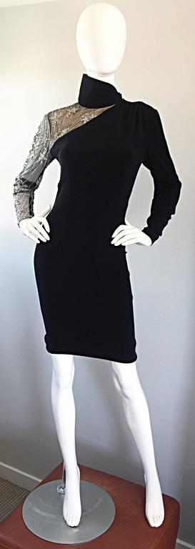 Vintage Bob Mackie Black Sequin Nude Illusion Silver Sequin ' Star ' Dress 4 - 6 For Sale 5