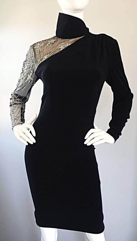 Vintage Bob Mackie Black Sequin Nude Illusion Silver Sequin ' Star ' Dress 4 - 6 For Sale 1
