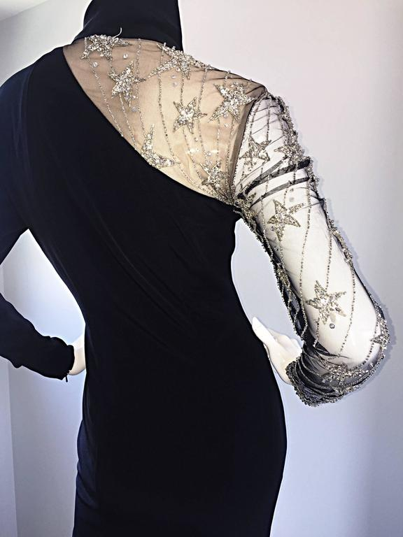Vintage Bob Mackie Black Sequin Nude Illusion Silver Sequin ' Star ' Dress 4 - 6 For Sale 4