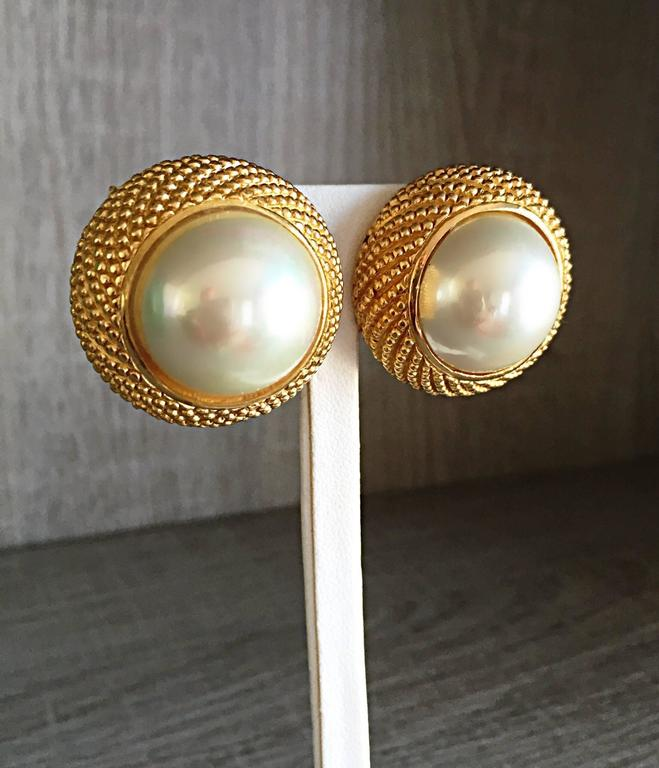 Vintage Christian Dior 1990s Signed Large Pearl Gold Dome Clip On 90s Earrings  4