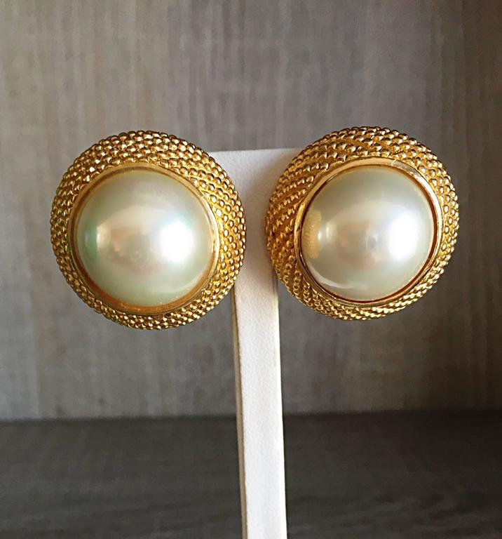 Vintage Christian Dior 1990s Signed Large Pearl Gold Dome Clip On 90s Earrings  3
