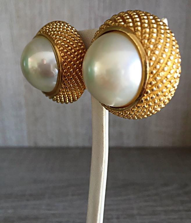 Vintage Christian Dior 1990s Signed Large Pearl Gold Dome Clip On 90s Earrings  2