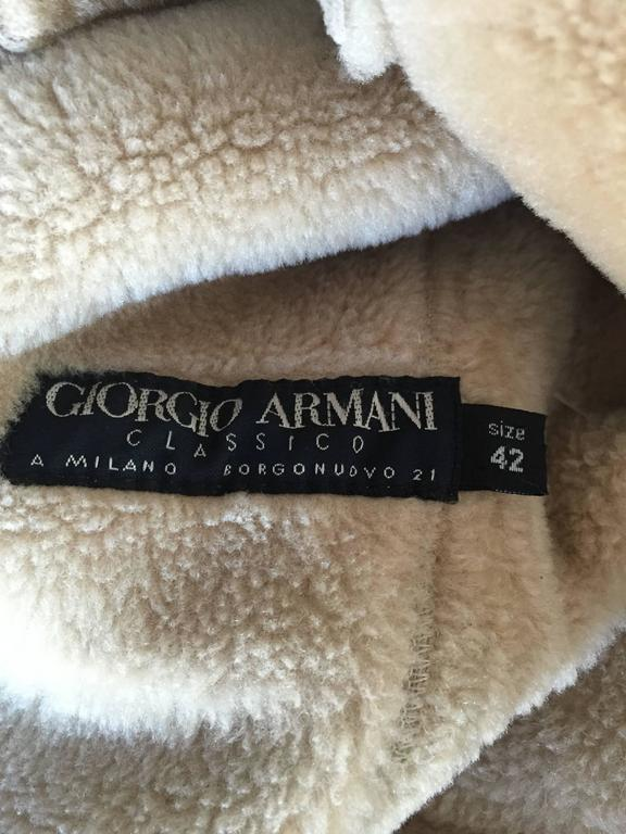 Vintage Giorgio Armani Unworn Shearling Taupe Beige Suede Leather Jacket Coat  10