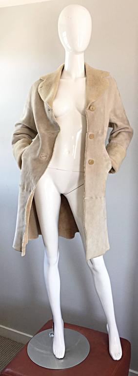 Vintage Giorgio Armani Unworn Shearling Taupe Beige Suede Leather Jacket Coat  2