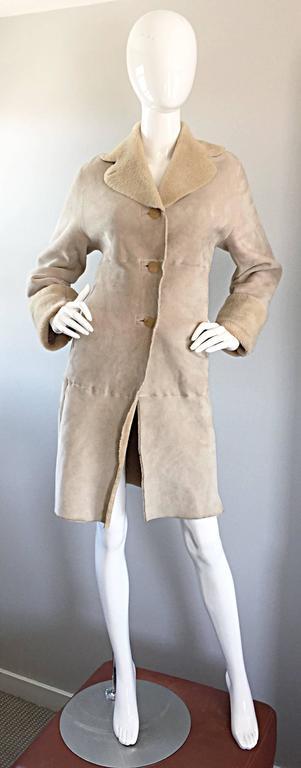 Vintage Giorgio Armani Unworn Shearling Taupe Beige Suede Leather Jacket Coat  4