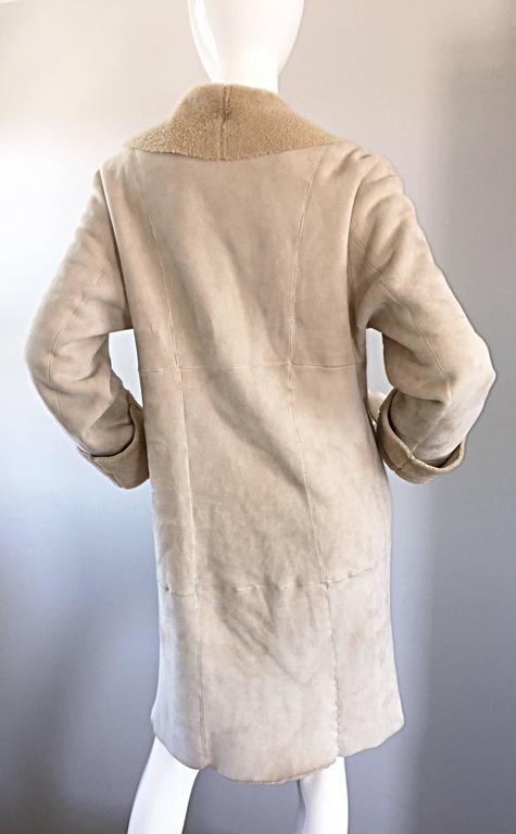 Vintage Giorgio Armani Unworn Shearling Taupe Beige Suede Leather Jacket Coat  8