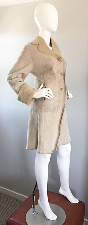 Vintage Giorgio Armani Unworn Shearling Taupe Beige Suede Leather Jacket Coat  6