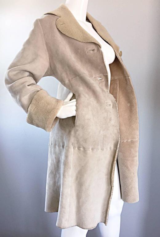 Vintage Giorgio Armani Unworn Shearling Taupe Beige Suede Leather Jacket Coat  7