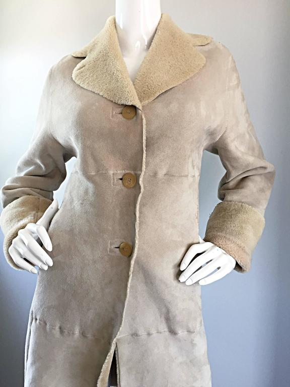 Vintage Giorgio Armani Unworn Shearling Taupe Beige Suede Leather Jacket Coat  3