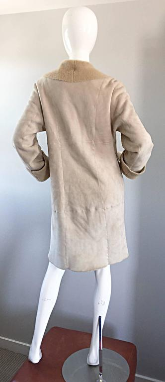 Vintage Giorgio Armani Unworn Shearling Taupe Beige Suede Leather Jacket Coat  5