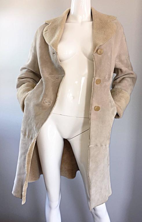 Vintage Giorgio Armani Unworn Shearling Taupe Beige Suede Leather Jacket Coat  9