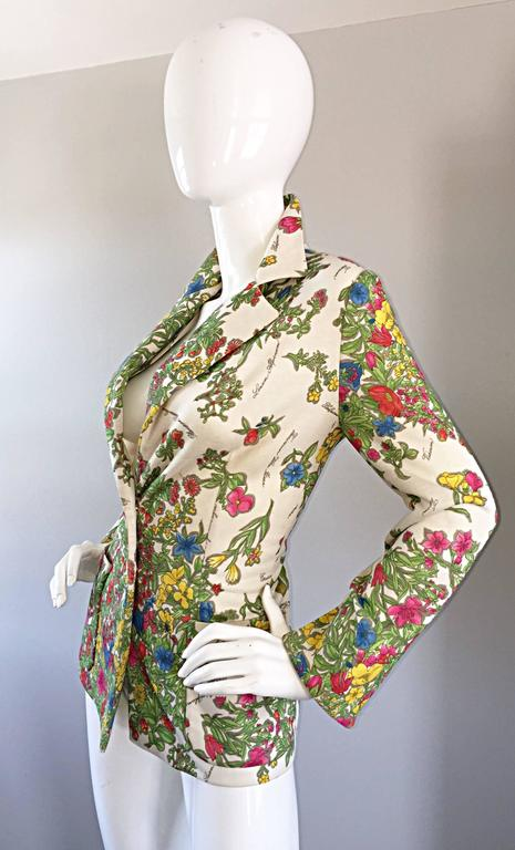 1970s Leslie Fay Knit Jersey Novelty Floral Garden Botanical Print Blazer Jacket For Sale 3