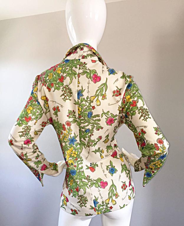 Women's 1970s Leslie Fay Knit Jersey Novelty Floral Garden Botanical Print Blazer Jacket For Sale