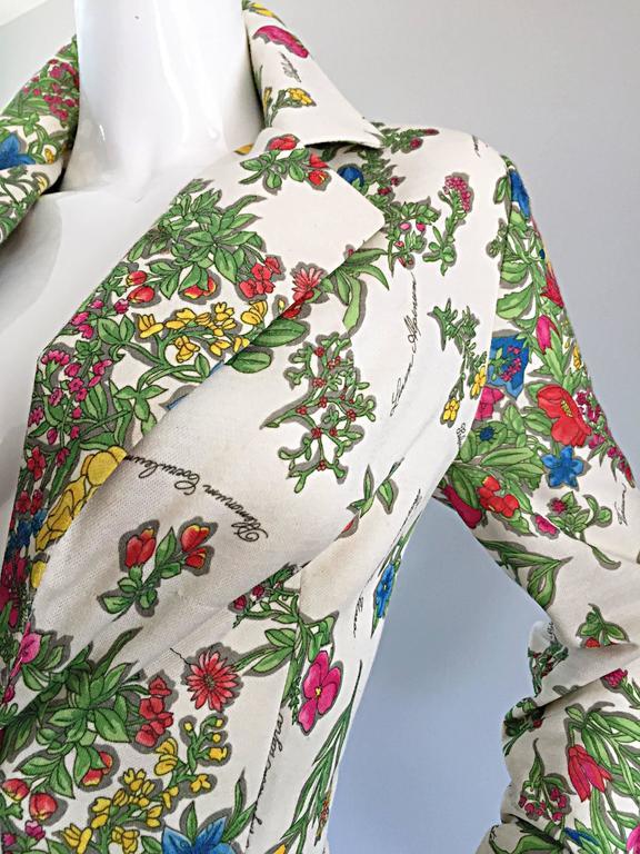 1970s Leslie Fay Knit Jersey Novelty Floral Garden Botanical Print Blazer Jacket For Sale 2