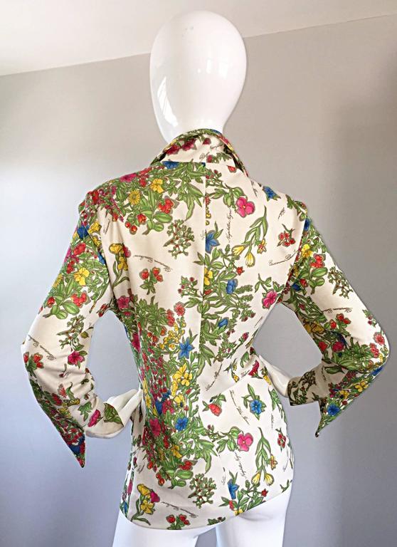1970s Leslie Fay Knit Jersey Novelty Floral Garden Botanical Print Blazer Jacket For Sale 4