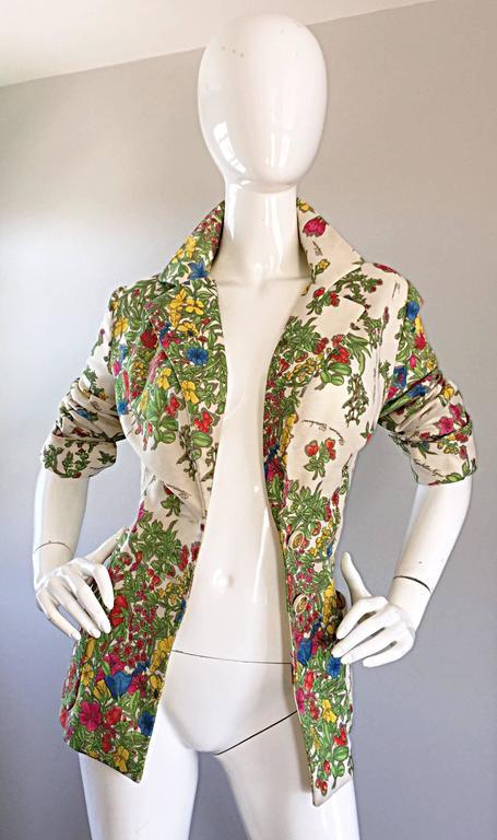 1970s Leslie Fay Knit Jersey Novelty Floral Garden Botanical Print Blazer Jacket For Sale 1