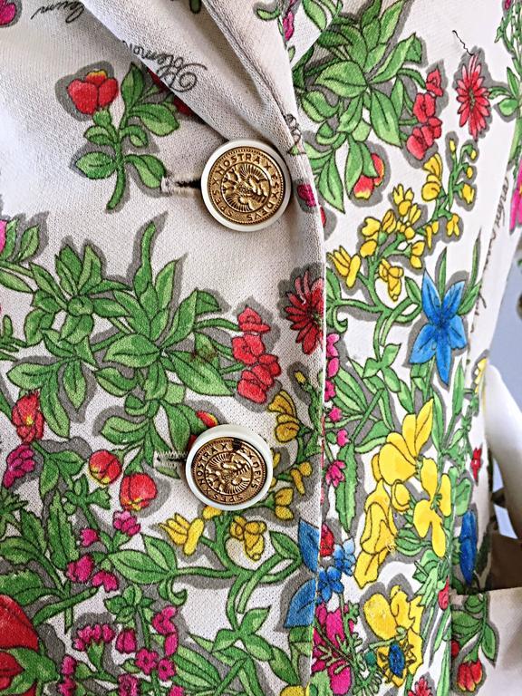 Beige 1970s Leslie Fay Knit Jersey Novelty Floral Garden Botanical Print Blazer Jacket For Sale