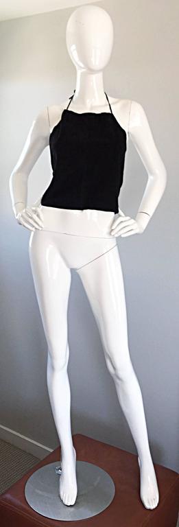 Gemma Kahng Vintage 1990s Black Suede Leather 90s Cropped Halter Top Shirt For Sale 1