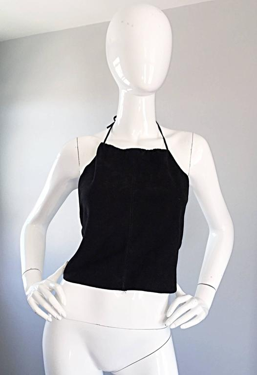 Gemma Kahng Vintage 1990s Black Suede Leather 90s Cropped Halter Top Shirt 9