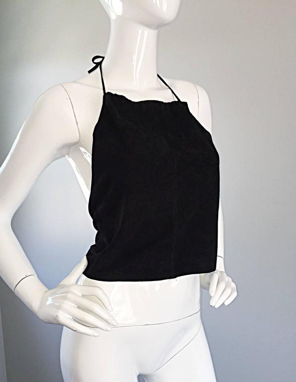 Gemma Kahng Vintage 1990s Black Suede Leather 90s Cropped Halter Top Shirt 7