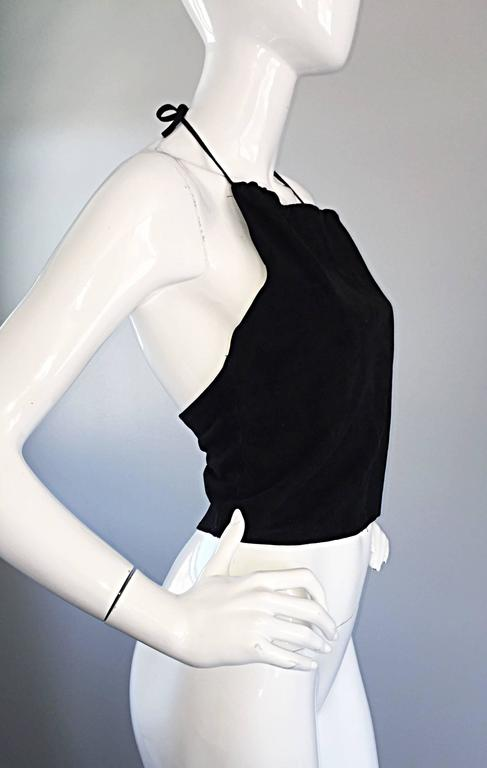 Gemma Kahng Vintage 1990s Black Suede Leather 90s Cropped Halter Top Shirt In Excellent Condition For Sale In San Francisco, CA