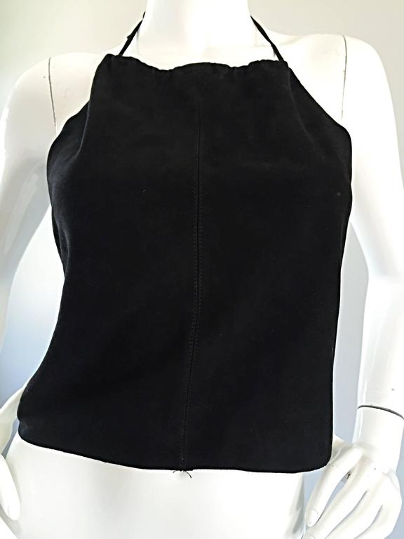 Gemma Kahng Vintage 1990s Black Suede Leather 90s Cropped Halter Top Shirt For Sale 2