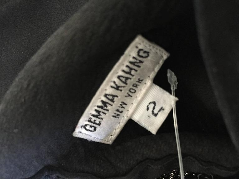 Gemma Kahng Vintage 1990s Black Suede Leather 90s Cropped Halter Top Shirt 10
