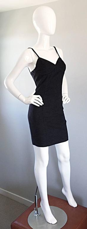 Black 1990s Michael Kors Vintage Charcoal Grey Bodycon Early 90s Italian Mini Dress 6 For Sale