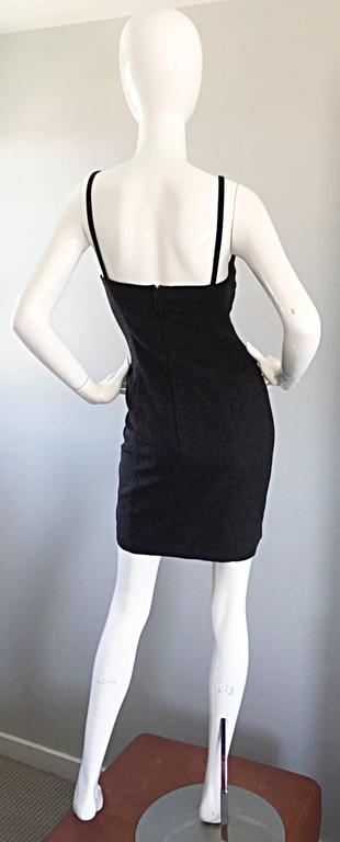 1990s Michael Kors Vintage Charcoal Grey Bodycon Early 90s Italian Mini Dress 6 In Excellent Condition For Sale In San Francisco, CA