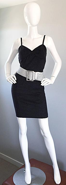 Women's 1990s Michael Kors Vintage Charcoal Grey Bodycon Early 90s Italian Mini Dress 6 For Sale