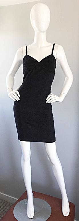 1990s Michael Kors Vintage Charcoal Grey Bodycon Early 90s Italian Mini Dress 6 For Sale 4
