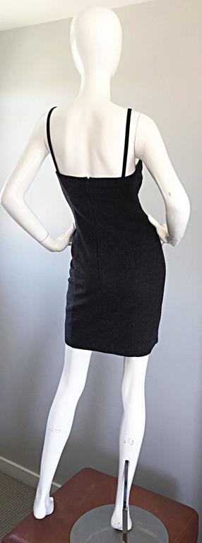 1990s Michael Kors Vintage Charcoal Grey Bodycon Early 90s Italian Mini Dress 6 For Sale 3