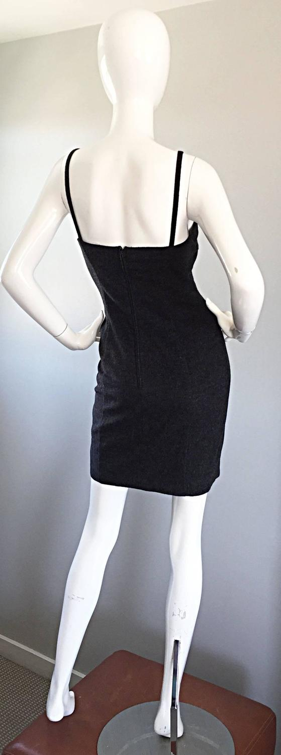 1990s Michael Kors Vintage Charcoal Grey Bodycon Early 90s