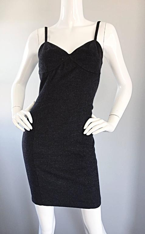 1990s Michael Kors Vintage Charcoal Grey Bodycon Early 90s Italian Mini Dress 6 For Sale 1
