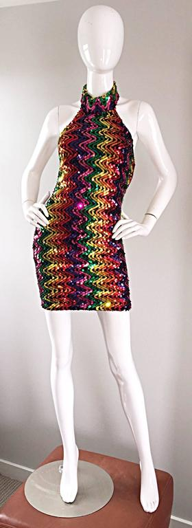 Sexy 1990s Rainbow Sequined French Bodycon Vintage Knit 90s Halter Mini Dress 2